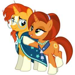 Size: 3200x3200 | Tagged: safe, artist:cheezedoodle96, stellar flare, sunburst, pony, unicorn, the parent map, .svg available, balancing, clothes, coat markings, eye contact, female, jewelry, looking at each other, male, mare, milf, mother and son, necklace, pearl necklace, proud, scarf, simple background, socks (coat markings), stallion, stellar milf, svg, transparent background, vector