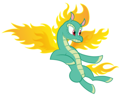 Size: 3038x2440   Tagged: safe, artist:up-world, tianhuo (tfh), longma, them's fightin' herds, community related, digital art, female, fiery wings, fire, flying, mane of fire, simple background, solo, spread wings, transparent background, vector, wings