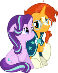 Size: 7067x8899 | Tagged: artist:jhayarr23, female, looking at each other, male, pony, safe, shipping, simple background, starburst, starlight glimmer, straight, sunburst, transparent background, unicorn, vector