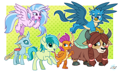 Size: 2680x1624 | Tagged: safe, artist:iheartjapan789, gallus, ocellus, sandbar, silverstream, smolder, yona, changedling, changeling, classical hippogriff, dragon, earth pony, griffon, hippogriff, pony, yak, school daze, chest fluff, cloven hooves, cute, cutie mark, diaocelles, diastreamies, dragoness, female, flying, gallabetes, looking at each other, male, paws, sandabetes, signature, smiling, smolderbetes, stamp of approval, student six, teenager, wings, yonadorable