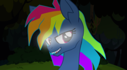 Size: 1024x571 | Tagged: adorapiehater, artist:galacticflashd, cute, evil pie hater dash, fangs, female, glowing eyes, looking at you, rainbow dash, safe, secrets and pies, solo, windswept mane
