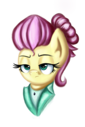 Size: 2000x3000 | Tagged: safe, artist:qbellas, fluttershy, pony, fake it 'til you make it, alternate hairstyle, bust, female, mare, severeshy, simple background, solo, transparent background