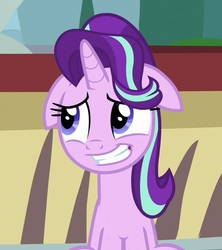 Size: 550x620   Tagged: safe, screencap, starlight glimmer, pony, unicorn, the parent map, cropped, cute, embarrassed, female, floppy ears, glimmerbetes, grin, mare, nervous, nervous grin, smiling, solo