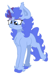 Size: 2371x3445 | Tagged: safe, artist:paskanaakka, derpibooru exclusive, oc, oc only, oc:midnight dew, unicorn, blank flank, colored hooves, ear fluff, eyeshadow, female, filly, makeup, nose wrinkle, raised leg, simple background, solo, transparent background, unshorn fetlocks