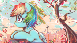 Size: 3057x1720 | Tagged: alternate hairstyle, artist:mirroredsea, beautiful, blowing bubbles, blushing, bubble, bust, cloud, cute, dashabetes, female, flower, folded wings, mare, multicolored hair, outdoors, pegasus, pony, profile, rainbow dash, safe, sky, solo, tree, wings