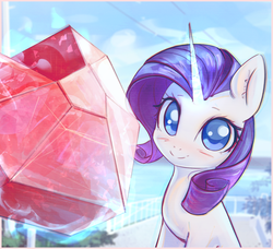 Size: 3174x2899 | Tagged: safe, artist:mirroredsea, rarity, pony, unicorn, blushing, female, gem, looking at you, mare, solo