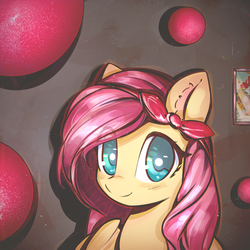 Size: 2800x2800 | Tagged: safe, artist:docwario, artist:mirroredsea, fluttershy, pegasus, pony, balloon, blushing, bowtie, cute, ear fluff, female, looking at you, mare, shyabetes, smiling, solo