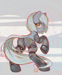 Size: 2479x2983 | Tagged: safe, artist:mirroredsea, limestone pie, cyborg, earth pony, pony, amputee, female, high res, looking at you, looking back, mare, prosthetic limb, prosthetics, quadruple amputee, science fiction, simple background, solo