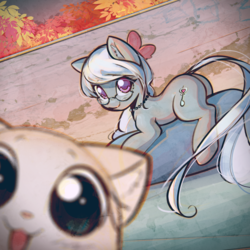 Size: 3000x3000 | Tagged: artist:mirroredsea, autumn, cat, cute, earth pony, female, filly, glasses, leaves, looking at you, photobomb, pony, prone, safe, selfie, silver spoon, smiling, wall