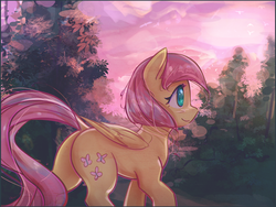 Size: 3504x2630 | Tagged: safe, artist:mirroredsea, fluttershy, pegasus, pony, alternate hairstyle, cute, dock, female, forest, mare, plot, scenery, short mane, shyabetes, smiling, solo