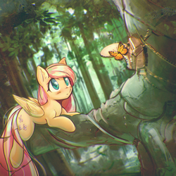 Size: 3212x3212 | Tagged: safe, artist:mirroredsea, fluttershy, butterfly, pegasus, pony, blushing, cute, female, forest, mare, prone, scenery, shyabetes, solo, tree, tree branch