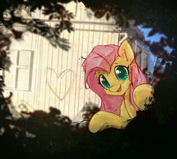 Size: 3800x3423 | Tagged: safe, artist:mirroredsea, fluttershy, pegasus, pony, bipedal, bipedal leaning, building, bush, colored pupils, cute, female, graffiti, heart, hide and seek, hiding, hnnng, leaning, looking at you, mare, open mouth, shyabetes, smiling, solo