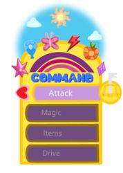 Size: 1573x2205 | Tagged: safe, artist:creepa-bot inc., derpibooru exclusive, cloud, command menu, elements of harmony, game menu, heart, keyblade, kingdom hearts, kingdom hearts 2, ms paint, peaceful mode, rainbow, sky, sun