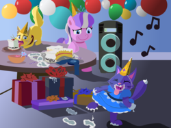 Size: 2000x1493 | Tagged: artist:magerblutooth, balloon, birthday cake, birthday party, bowl, cake, cat, clothes, comic:diamond and dazzle, diamond tiara, dress, earth pony, food, hat, oc, oc:dazzle, oc:peal, party, party hat, plate, pony, present, safe, speakers, table