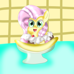 Size: 2048x2048 | Tagged: artist:doraeartdreams-aspy, banana, banana split, bowl, cherry, cute, fluttershy, food, ice cream, safe, shyabetes, whipped cream