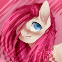 Size: 1000x1000   Tagged: safe, artist:sileentdo, fluttershy, pony, abstract background, bust, cute, female, hair over one eye, looking away, looking sideways, mare, portrait, shyabetes, smiling, solo