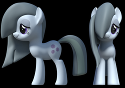 Size: 1362x960 | Tagged: 3d, artist:fillerartist, blender, earth pony, female, marble pie, mare, pony, render, safe, shy, simple background, smiling, smirk, wip