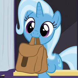 Size: 720x720 | Tagged: safe, screencap, trixie, unicorn, to where and back again, cropped, cute, diatrixes, female, happy, mouth hold, saddle bag, smiling, solo, to saddlebags and back again