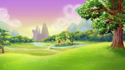 Size: 1680x945 | Tagged: safe, artist:jeremywithlove, background, canterlot, cottage, everfree forest, fluttershy's cottage, no pony, river, scenery, tree