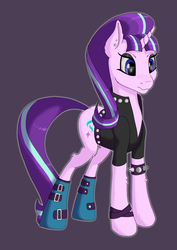 Size: 2480x3508 | Tagged: artist:settop, clothes, ear piercing, edgelight glimmer, female, glimmer goth, goth, mare, piercing, pony, safe, solo, starlight glimmer, teenage glimmer, the parent map, unicorn
