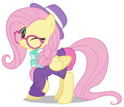 Size: 5000x4304 | Tagged: absurd res, alternate hairstyle, artist:dragonchaser123, clothes, cute, fake it 'til you make it, female, fluttershy, glasses, hipster, hipstershy, hot pants, mare, one eye closed, safe, shyabetes, simple background, solo, transparent background, wink