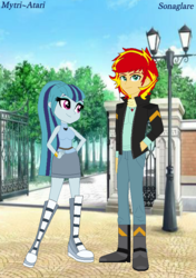 Size: 570x810 | Tagged: safe, artist:mytri-atari, sonata dusk, sunset shimmer, equestria girls, friendship games, boots, bracelet, clothes, equestria guys, female, half r63 shipping, jacket, jewelry, male, necklace, rule 63, shipping, shoes, sonaglare, straight, sunset glare