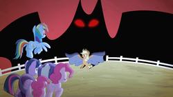 Size: 1280x720   Tagged: safe, screencap, applejack, pinkie pie, rainbow dash, rarity, twilight sparkle, alicorn, earth pony, pegasus, pony, unicorn, bats!, season 4, bipedal, female, mare, red eyes, shadow, sheet, silhouette, stop the bats, twilight sparkle (alicorn)