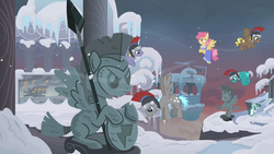 Size: 1280x720 | Tagged: background pony, city, clothes, compass star, dizzy twister, female, flying, hearth's warming eve, hearth's warming eve (episode), helmet, male, mare, orange swirl, pegasus, pegasus tribe, pony, safe, screencap, snow, stallion, statue