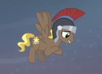 Size: 210x154 | Tagged: background pony, compass star, cropped, flying, hearth's warming eve (episode), helmet, male, pegasus, pegasus tribe, picture for breezies, pony, safe, screencap, solo, stallion