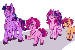 Size: 1500x1000 | Tagged: safe, artist:thotticus, pinkie pie, twilight sparkle, oc, oc:brae petal, oc:confetti, alicorn, earth pony, pony, unicorn, blushing, cloven hooves, cutie mark, female, fluffy, glasses, headband, lesbian, looking at each other, magical lesbian spawn, mare, offspring, parent:big macintosh, parent:cheerilee, parent:pinkie pie, parent:twilight sparkle, parents:cheerimac, parents:twinkie, ring, shipping, simple background, size difference, smiling, twilight sparkle (alicorn), twinkie, wedding ring, white background