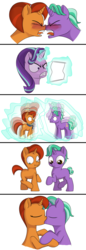 Size: 986x2863 | Tagged: safe, artist:foal, firelight, starlight glimmer, stellar flare, age regression, angry, backfired, colt, female, filly, kissing, male, shipping, stellarlight, straight, younger