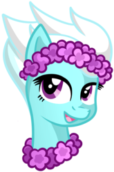 Size: 1183x1792 | Tagged: artist:x-blackpearl-x, bust, fleetfoot, floral head wreath, flower, flower necklace, pegasus, pony, safe, simple background, smiling, solo, transparent background