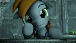 Size: 3840x2160 | Tagged: safe, artist:goatcanon, oc, oc:littlepip, pony, unicorn, fallout equestria, 3d, clothes, commission, fallout, fanfic, fanfic art, female, floppy ears, hooves, horn, looking at you, mare, pipbuck, smiling, smirk, solo, source filmmaker, stable, stable-tec, vault suit