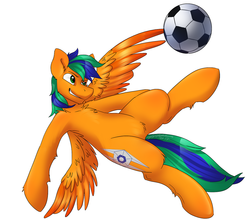 Size: 1280x1125 | Tagged: safe, artist:hoof34, oc, oc:naarkerotics, pegasus, pony, action pose, football, sports