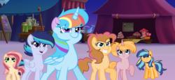Size: 1672x768 | Tagged: safe, artist:thesmall-artist, oc, oc only, oc:apple shield, oc:colour sparkling, oc:diamond apple, oc:peach blossom, oc:sprinkle pie, oc:star twinkle, alicorn, pegasus, pony, base used, female, magical lesbian spawn, mare, offspring, parent:applejack, parent:big macintosh, parent:donut joe, parent:flim, parent:pinkie pie, parent:rainbow dash, parent:rarity, parent:shining armor, parent:twilight sparkle, parents:flimjack, parents:pinkiejoe, parents:rarimac, parents:shiningjack, parents:twidash