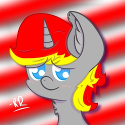 Size: 768x768 | Tagged: safe, artist:rubydeluxe, derpibooru exclusive, oc, oc only, oc:rd, alicorn, abstract background, alicorn oc, blushing, bust, cute, digital art, ear fluff, eyebrows, horn, looking at you, male, muzzle, neck fluff, portrait, pupils, shading, signature, smiling, solo