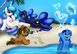 Size: 3550x2509 | Tagged: safe, artist:pridark, princess celestia, princess luna, oc, alicorn, alicorn oc, beach, colt, female, filly, incest, lesbian, magical lesbian spawn, male, mare, momlestia, offspring, parent:princess celestia, parent:princess luna, parents:princest, princest, product of incest, relaxing, royal sisters, shipping, smiling, true love princesses, water