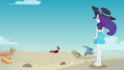 Size: 1920x1080 | Tagged: safe, screencap, rarity, crab, giant crab, aww... baby turtles, equestria girls, equestria girls series, beach, cloud, crab fighting a giant rarity, feet, flip-flops, rarity fighting a giant crab, rarity fighting a regular sized crab, role reversal, sand, sandals, sky