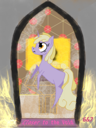 Size: 1536x2048 | Tagged: safe, artist:sixes&sevens, derpibooru exclusive, dinky hooves, unicorn, fanfic, fanfic art, fanfic cover, fire, tardis control room