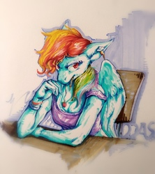 Size: 3009x3386 | Tagged: safe, artist:angusdra, rainbow dash, pegasus, anthro, abstract background, bracelet, chair, clothes, cutie mark earrings, ear piercing, earring, eyebrow piercing, female, floppy ears, implied appledash, implied lesbian, implied shipping, jewelry, looking sideways, necklace, off shoulder, piercing, sitting, solo, table, tanktop, traditional art