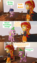 Size: 1920x3240 | Tagged: 3d, artist:red4567, comic, comic:zits, dog, equestria girls, look-alike, safe, sci-twi, source filmmaker, spike, spike the regular dog, sunset shimmer, table, twilight sparkle