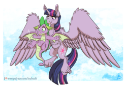 Size: 1024x725 | Tagged: alicorn, artist:inuhoshi-to-darkpen, blep, cheek fluff, chest fluff, cloud, dragon, ear fluff, feathered fetlocks, female, flying, large wings, male, mare, molt down, patreon, patreon logo, pony, safe, silly, simple background, sky, spike, spoiler:s08e11, spread wings, teaching, tongue out, transparent background, twilight sparkle, twilight sparkle (alicorn), unshorn fetlocks, winged spike, wings