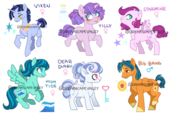 Size: 1024x683 | Tagged: adoptable, artist:dreamscapevalley, blaze (coat marking), earth pony, female, magical gay spawn, magical lesbian spawn, male, mare, next generation, oc, oc:big bang, oc:dear diary, oc:high tide, oc only, oc:starmine, oc:tilly, oc:vixen, offspring, parent:cozy glow, parent:flash sentry, parent:party favor, parent:rumble, parents:cozyspoon, parents:flashlight, parent:silver spoon, parents:partybelle, parent:spearhead, parents:rumbelle, parents:spearburst, parents:thundertrail, parent:sugar belle, parent:sunburst, parent:sweetie belle, parent:thunderlane, parent:twilight sparkle, parent:vapor trail, pegasus, pony, safe, simple background, stallion, tongue out, transparent background, unicorn