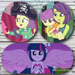 Size: 2048x2048   Tagged: safe, artist:huntercwalls, edit, edited screencap, screencap, lily pad (equestria girls), twilight sparkle, victoria, water lily (equestria girls), equestria girls, equestria girls (movie), equestria girls series, pinkie sitting, turf war, adorable face, clothes, crying, cute, fanfic, fanfic art, fanfic cover, fimfiction, friendship, happy, one-piece swimsuit, photoshop, smiling, swimsuit, twilight sparkle (alicorn)