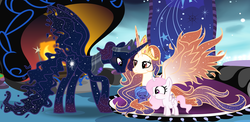 Size: 3557x1738 | Tagged: safe, artist:velveagicsentryyt, princess celestia, princess luna, oc, oc:king cosmos, oc:queen galaxia, alicorn, baby pony, celestia and luna's father, celestia and luna's mother, cewestia, father and daughter, female, filly, husband and wife, male, mother and daughter, royal family, sisters, woona, younger
