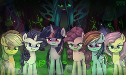 Size: 2500x1500 | Tagged: alicorn, artist:tcn1205, changeling, changeling queen, clone, clone six, dummy, evil grin, evil rainbow dash, female, forest, grin, looking at you, mare, mean applejack, mean fluttershy, mean pinkie pie, mean rainbow dash, mean rarity, mean six, mean twilight sparkle, pony, queen chrysalis, safe, smiling, the mean 6
