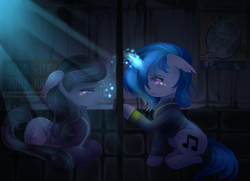 Size: 2756x2000 | Tagged: artist:shimayaeiko, blushing, clothes, couple, crying, cutie mark, dj pon-3, ear fluff, earth pony, fallout equestria, fanfic, fanfic art, female, floppy ears, glowing horn, hooves, horn, human, lesbian, magic, mare, octavia melody, pipbuck, pony, poster, sad, safe, scratchtavia, shipping, sitting, smiling, teeth, text, unicorn, vault boy, vault suit, vinyl scratch