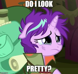 Size: 530x500 | Tagged: safe, edit, edited screencap, screencap, starlight glimmer, pony, unicorn, the mean 6, bronybait, cropped, crying, cute, dialogue, dirty, female, floppy ears, glimmerbetes, image macro, mare, meme, messy mane, sad, sadlight glimmer, sadorable, solo