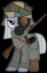 Size: 1916x3000 | Tagged: safe, artist:brony-works, part of a set, limestone pie, badass, bloodshot eyes, bolt-action rifle, boots, camouflage, clothes, dirty, female, gas mask, german, gun, k98, kar98, kar98k, long sleeves, mask, mauser 98k, military, military uniform, mud, rifle, scarf, shoes, shovel, simple background, solo, stahlhelm, transparent background, trenchcoat, uniform, vector, weapon, world war i