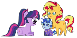 Size: 3168x1569 | Tagged: safe, artist:pikokko, sci-twi, sunset shimmer, twilight sparkle, oc, oc:sparkling sapphire, pony, unicorn, series:sciset diary, baby, baby pony, equestria girls ponified, family, female, filly, footed sleeper, heart, lesbian, magic, magical lesbian spawn, offspring, onesie, parent:sci-twi, parent:sunset shimmer, parents:scitwishimmer, ponified, scitwishimmer, shipping, simple background, sunsetsparkle, transparent background